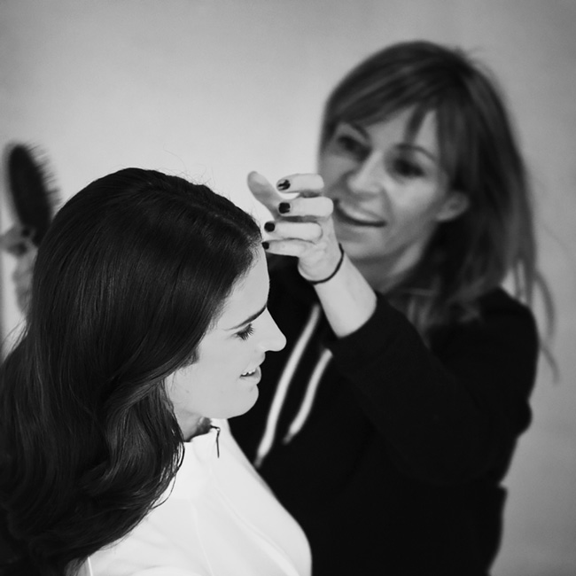 hair stylist on commercial model shoot