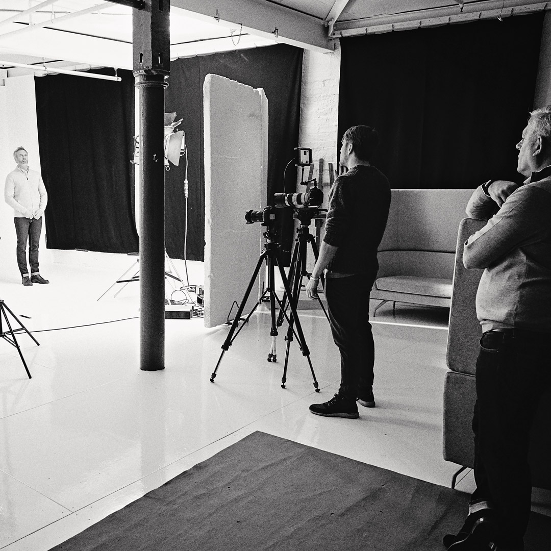 video production in a photography studio